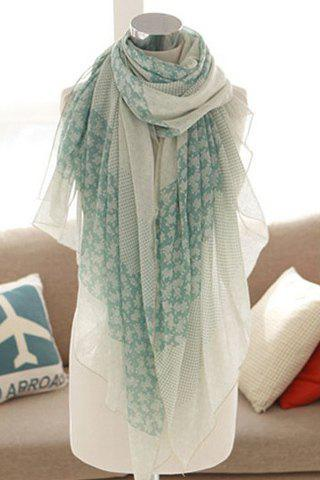Sweet Mixed Print Pure Color Women's Scarf - LIGHT BLUE