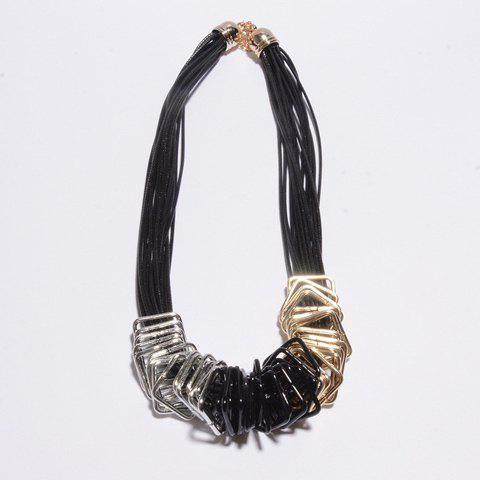 Punk Style Women's Solid Color Leather Chain Embellished Necklace - AS THE PICTURE