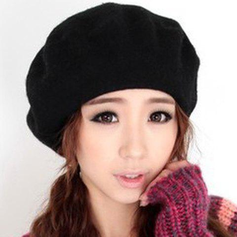 Hot Sale Solid Color Design Beret For Women - BLACK ONE SIZE(FIT SIZE XS TO M)