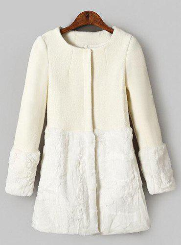 Faux Fur Splicing Scoop Collar Long Sleeve Worsted Trendy Style Women's Coat - L WHITE