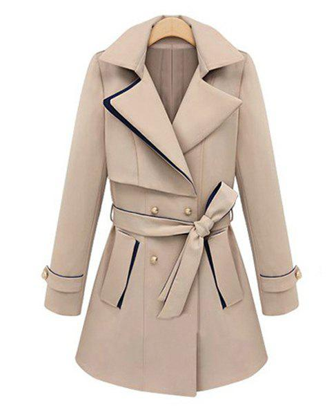 Solid Color Lapel Neck Long Sleeve Double-Breasted Self-Tie Fashionable Women's Coat - APRICOT L