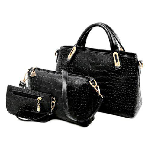 Trendy Style PU Leather and Crocodile Print Design Tote Bag For Women - BLACK