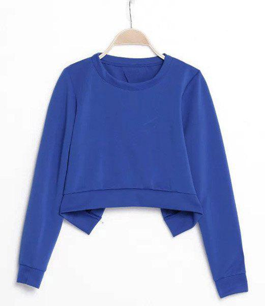 Solid Color Back Slit Round Collar Long Sleeve Trendy Style Women's Sweatshirt - BLUE M
