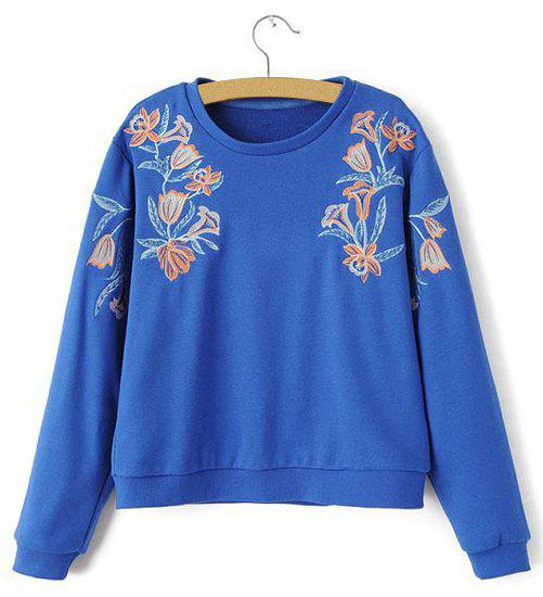 Active Flower Embroidery Round Neck Loose-Fitting Long Sleeve Sweatshirt For Women - S BLUE