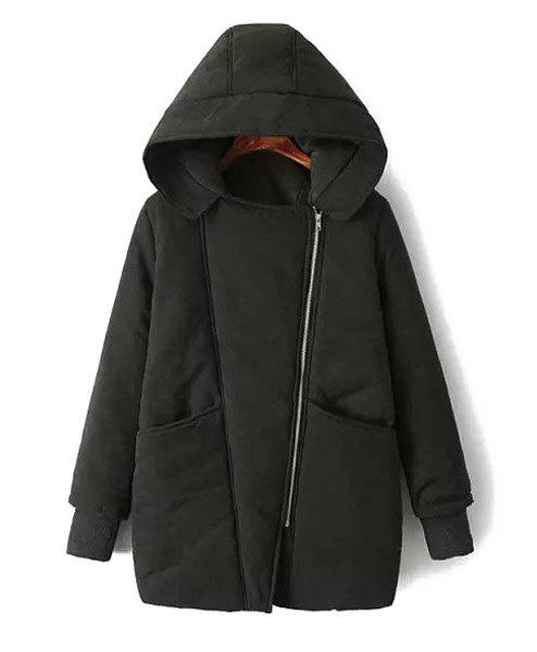 Pockets Zipper Design Hooded Long Sleeve Thicken Casual Style Women's Coat - BLACK S