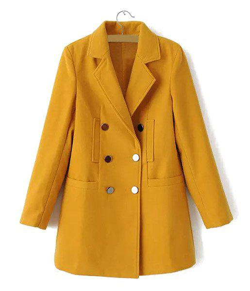Solid Color Worsted Lapel Neck Long Sleeve Metal Double-Breasted Stylish Women's Coat - CAMEL M