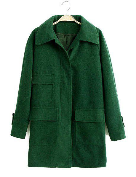 Three Pockets Solid Color Worsted Turn-Down Collar Long Sleeve Fashionable Women's Coat - GREEN M