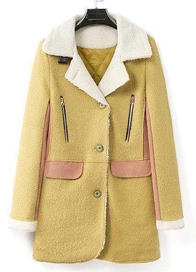 Graceful Splicing Faux Wool Turn-Down Collar Long Sleeve Flocking Worsted Coat For Women