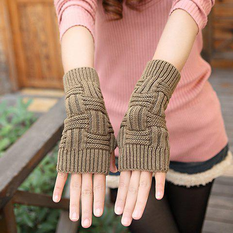 Pair of Fashion Solid Color Striped Gloves For Women -