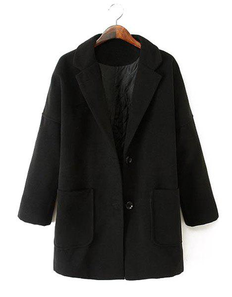 Solid Color Worsted Lapel Neck Long Sleeve Single-Breasted Stylish Women's Coat - BLACK XL