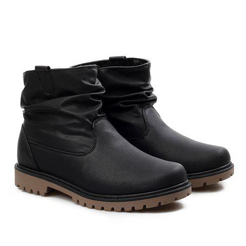 Street Style Round Toe and Solid Color Design Boots For Men - BLACK 42