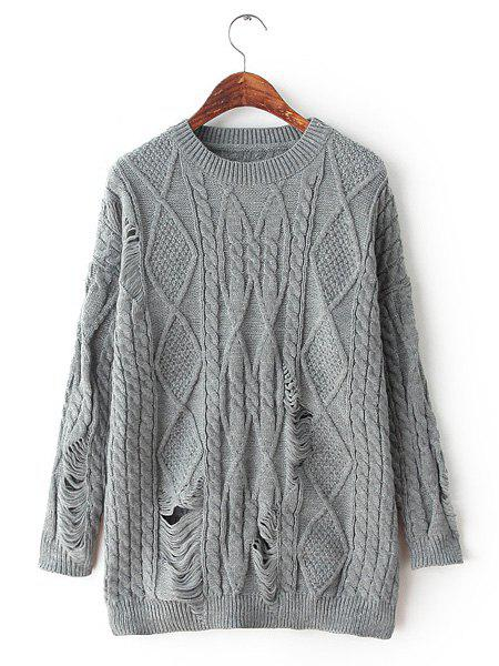 Cable-Knit Broken Hole Round Collar Long Sleeve Solid Color Stylish Women's Sweater - GRAY ONE SIZE(FIT SIZE XS TO M)