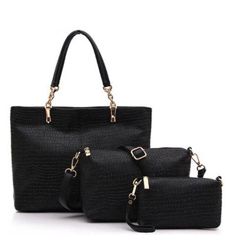 Fashionable Solid Color and Crocodile Print Design PU Leather Shoulder Bag For Women - BLACK