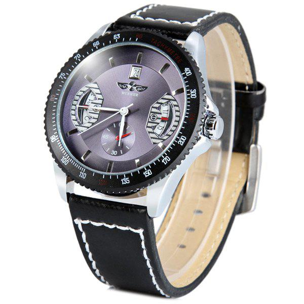 Mechanical Luxury Watch with Calendar Round Dial and Leather Watchband for MenWatches<br><br><br>Color: BLUE