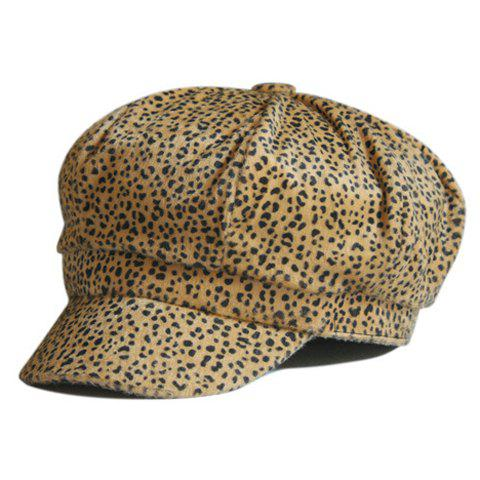 Chic Leopard Pattern Faux Fur Design Women's Newsboy Cap - COLOR ASSORTED