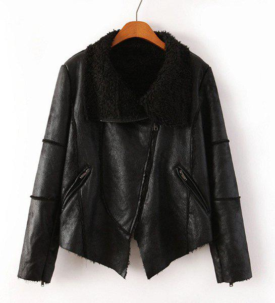 Faux Leather Faux Fur Turn-Down Collar Long Sleeve Trendy Style Women's Jacket - BLACK M