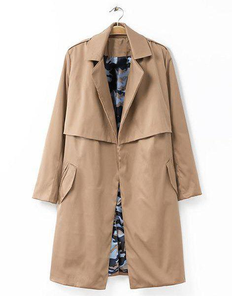 Solid Color Lapel Neck Long Sleeve with Belt Fashionable Women's Trench Coat - KHAKI S
