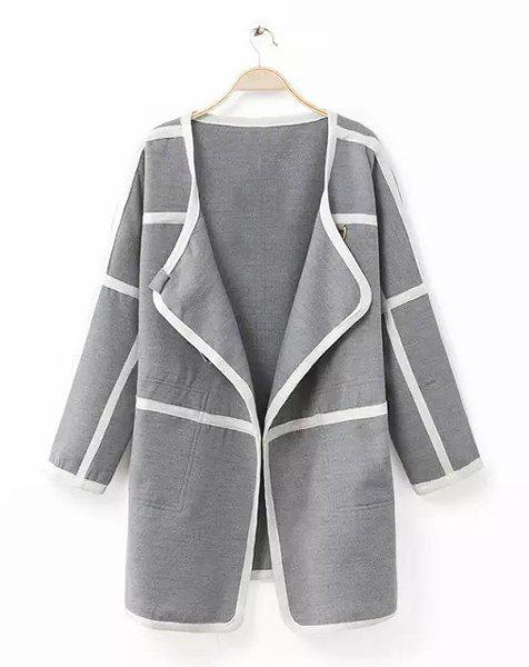 Striped Color Block Turn-Down Collar Long Sleeve Trendy Style Women's Coat - M GRAY