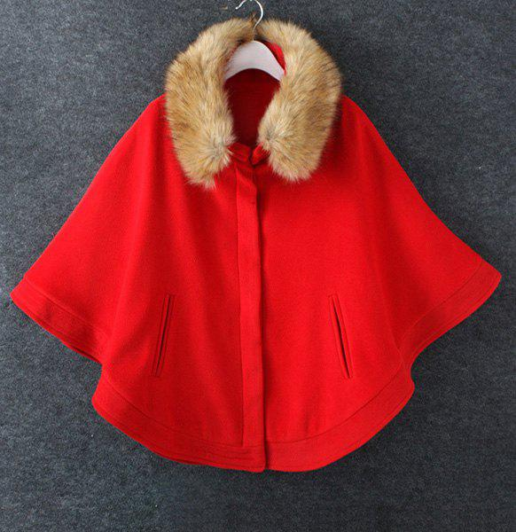 Cute Worsted Detachable Faux Fur Stand Collar Long Sleeve Coat For Women - RED L