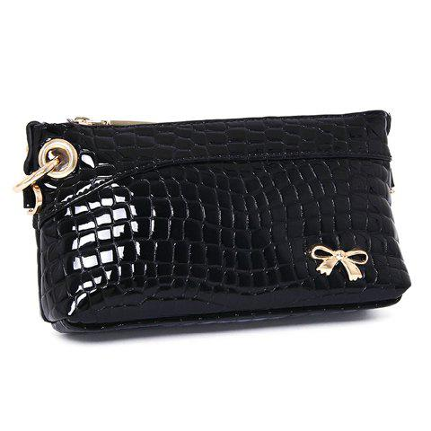 Trendy Crocodile Print and Bow Design Clutch Bag For Women - BLACK