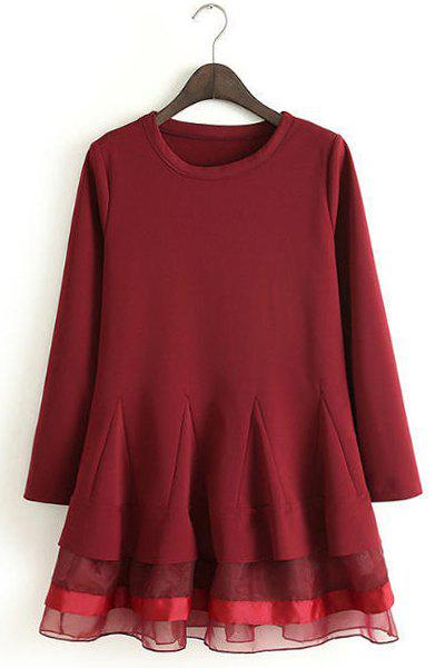 Voile Splicing Hem Round Collar Long Sleeve Ladylike Style Women's Dress - RED S