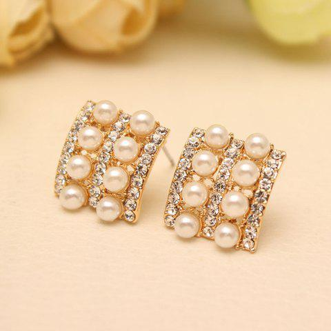 Pair of Chic Women's Pearl Rhinestone Geometric Earrings