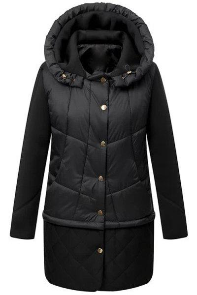 Solid Color Hooded Long Sleeve Single-Breasted Casual Style Women's Down Coat - BLACK L