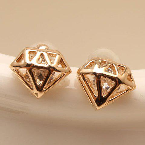 Pair of Seductive Zircon Embellished Women's Earrings - GOLDEN