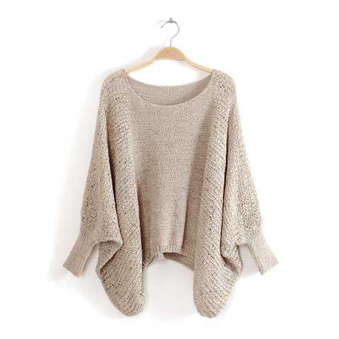 Stylish Scoop Neck Openwork Irregular Design Batwing Sleeves Knitting Women's Sweater - KHAKI ONE SIZE