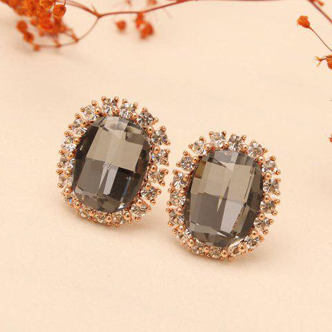 Pair of Rhinestone Faux Crystal Embellished Stud Earrings - COLOR ASSORTED