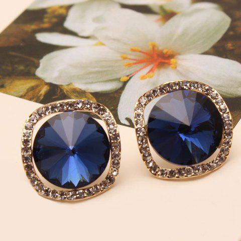 Pair of Women's Shining Crystal Embellished Round Shape Earrings