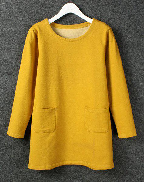 Solid Color Double Pockets Scoop Collar Long Sleeve Casual Style Women's Dress - YELLOW M