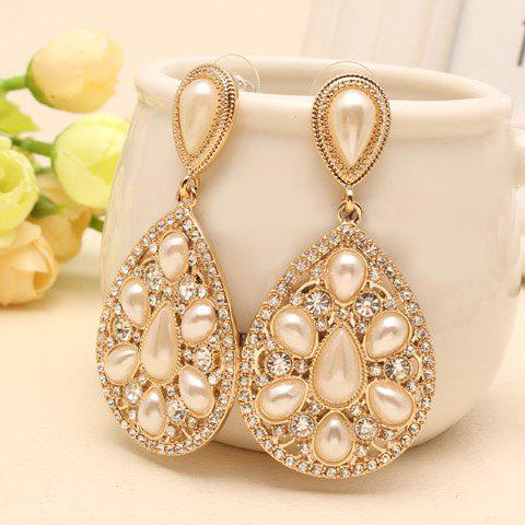 Pair of Dazzling Faux Pearl Embellished Waterdrop Shape Women's Earrings - GOLDEN