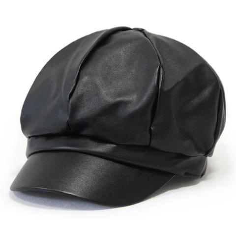 Men and Women's Chic Solid Color PU Newsboy Cap - BLACK