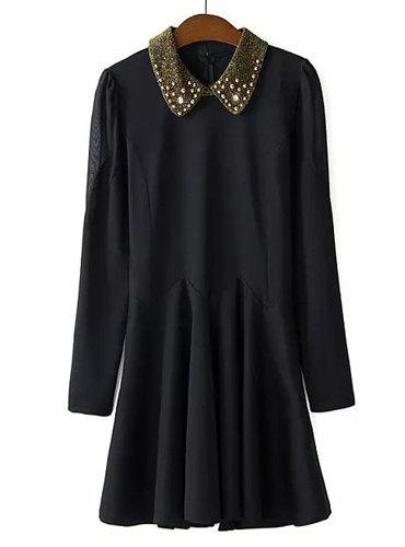 Sweet Solid Color Flat Collar Beaded Embellished Long Sleeve Pleated Dress For Women - BLACK M
