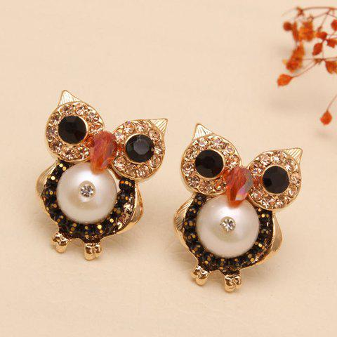 Pair of Women's Cute Faux Gem Embellished Owl Shape Earrings