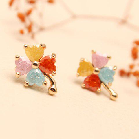 Pair of Women's Cute Colorful Four Leaf Clover Shape Earrings