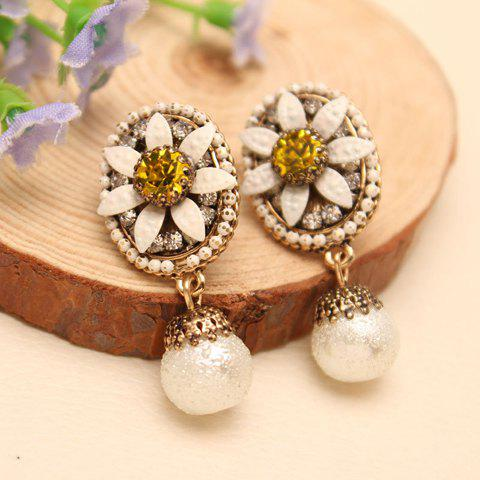 Pair of Refined Beads Embellished Flower Shape Drop Earrings - COLOR ASSORTED