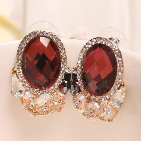 Pair of Shell Embellished Oval Faux Crystal Earrings -