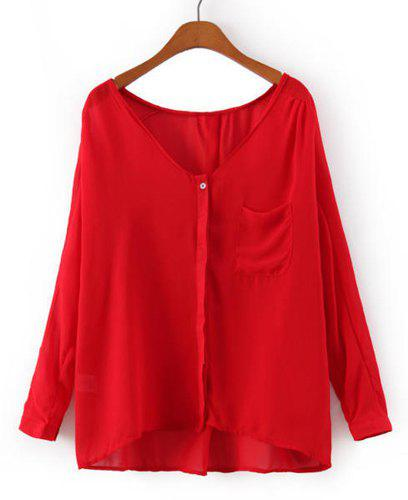 Simple Solid Color V-Neck Single-Breasted Long Sleeve Chiffon Blouse For Women - RED S
