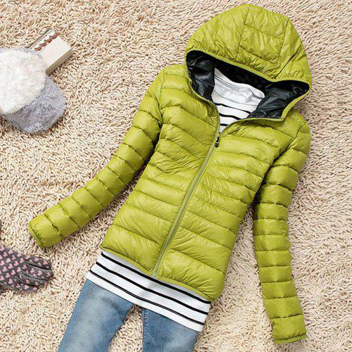 Stylish Hooded Long Sleeve Pocket Design Zippered Women's Down ...