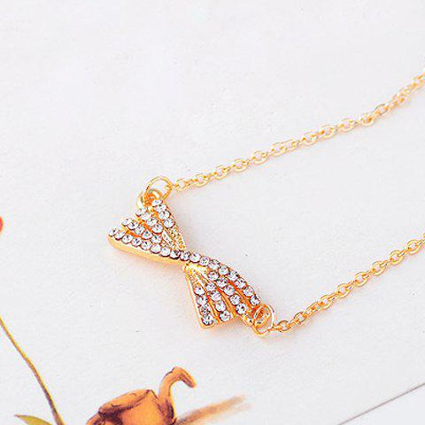 Shining Rhinestone Embellished Bowknot Shape Women's Necklace - AS THE PICTURE