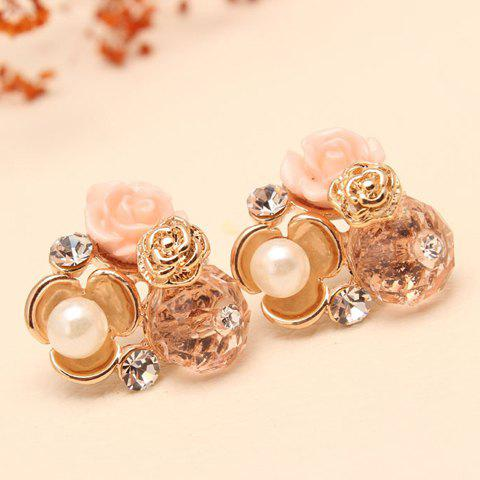 Pair of Shining Faux Pearl and Rhinestone Decorated Candy Color Floral Earrings For Women - PINK