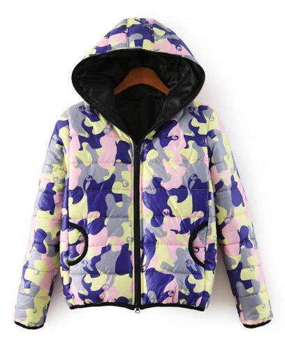 Camouflage Print Hooded Long Sleeve Double Pockets Trendy Style Women's Coat - CAMOUFLAGE COLOR M