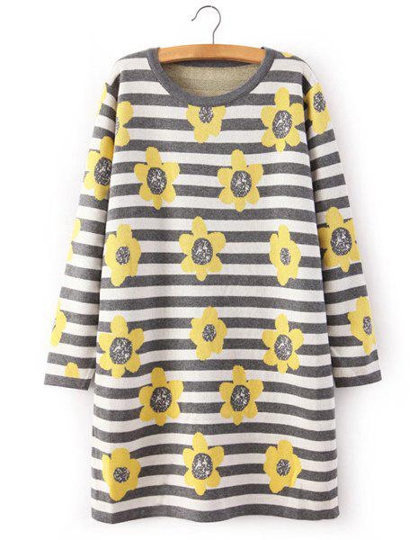 Striped Full Flower Pattern Scoop Collar Long Sleeve Trendy Style Women's Sweater - YELLOW ONE SIZE(FIT SIZE XS TO M)