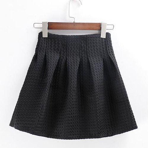 Sweet Solid Color Zipper Fly Plaid Cotton Mini Ball Gown Skirt For Women - BLACK L