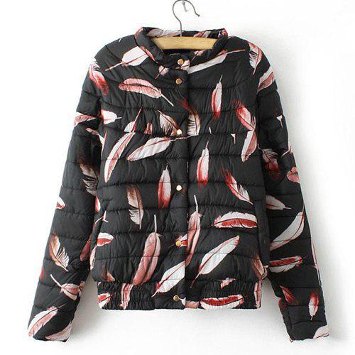 Fashionable Feather Pattern Stand Collar Loose Long Sleeve Coat For Women - BLACK L