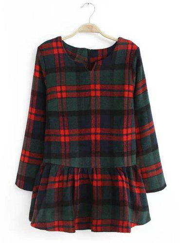 Cute Plaid Round Collar Worsted Ball Gown Long Sleeve Dress For Women - CADETBLUE M