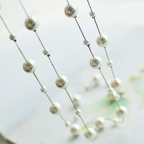 Sweet Cute Women's Pearl Layered Sweater Chain Necklace - SILVER