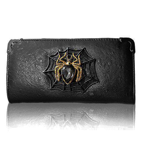 Fashion Spider and PU Leather Design Clutch Wallet For Women - BLACK